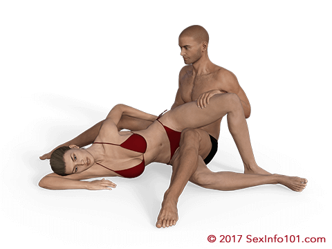 Seated scissors sex